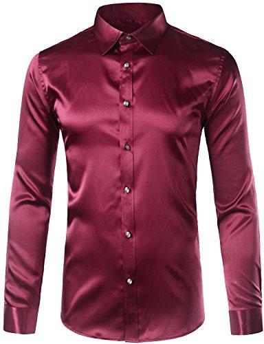 ZEROYAA Men's Slim Fit Silk Like Satin Disco Dance Prom Dress Shirt Z5-Burgundy XXX-Large