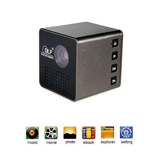 1 8 cube mini dlp projector led hd portable pocket for Pocket projector reviews