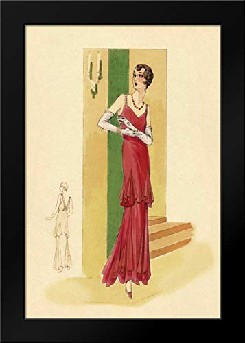 (Scarlet Evening Gown Framed Art Print by Vintage Fashion)