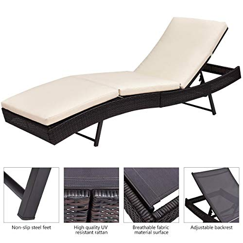 Tangkula Patio Reclining Chaise Lounge Outdoor Beach Pool Yard Porch Wicker Rattan Adjustable Backrest Lounger Chair (Small Without Wheel) by Tangkula (Image #6)