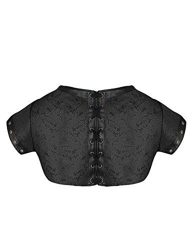 donna broccato Burvogue stile costume Black di accessorio in giacca per Halloween in da steampunk pqpw6Ef