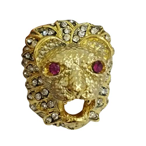 winsopee Men Fashion Diamond Ring Punk Style Lion Head Gold Filled Natural Ruby Gemstone Mothers Day Jewelry Gift(Gold,8)