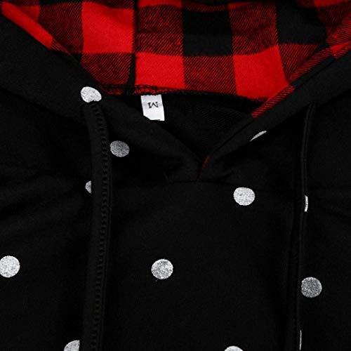 Reticolo Elegante Swag Hoodies Autunno Streetwear Primaverile Hoodie Con Fashion Cappuccio Dots Di Emmala I Donna Lunga Tendenza Vintage Manica Felpe Patchwork Schwarz Felpa Polka Pullover wXxFHqFgT0