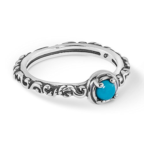 Carolyn Pollack Simply Fabulous Sterling Silver & Round Single Stone Band Ring (Turquoise, 9) (Jewelry Box Band Filigree)