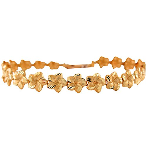 (14k Yellow Gold Ladies 0.9cm Wide Diamond Cut Plumeria Hawaiian Flower Bracelet)