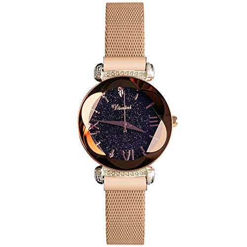 RORIOS Fashion Ladies Watch Magnetic Mesh Band Starry Sky Dial Analogue Quartz Wrist Watch for Women