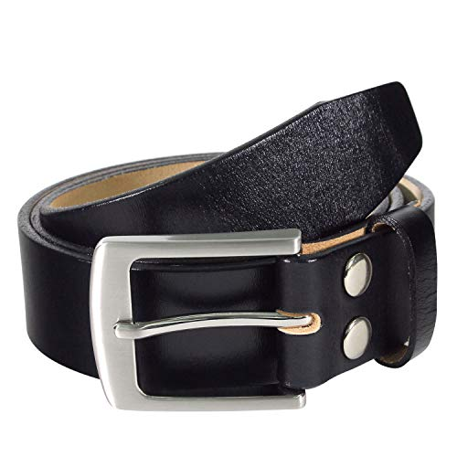 NPET Men's Genuine Leather Belt with Strong Pin Buckle 1.5