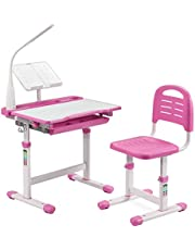 LORDWEY BiFanuo Kids Desks, Height Adjustable Children Desk and Chair Set,Childs School Student Sturdy Table with Tilt Desktop, LED Light、Pull Out Drawer Storage,Pencil Case,Metal Hook.Bookstand