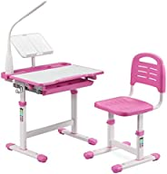 LORDWEY BiFanuo Kids Desks, Height Adjustable Children Desk and Chair Set,Childs School Student Sturdy Table w