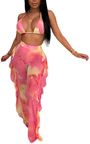 Women Beading Pearl See Through Sheer Mesh 2 Pieces Outfits Jumpsuits Crop Top and Hollow Out Ruffle Long Pants