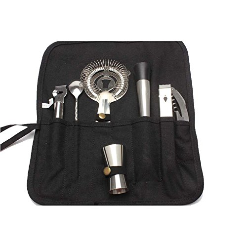 QEES Stainless Steel Cocktail Bar Tool Set 7 Sets Tools Travel Bag Kits Universal Tools for Bartender TJTZ01