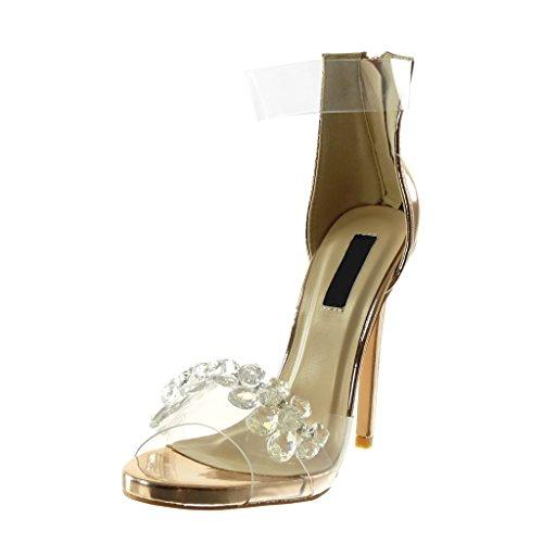 Aiguille Mode Transparent Bijoux 13 Chaussure Champagne Strass Diamant Angkorly Haut Sandale Talon Peep Escarpin Stiletto Femme toe Lanière Cheville Cm wa5pOq5