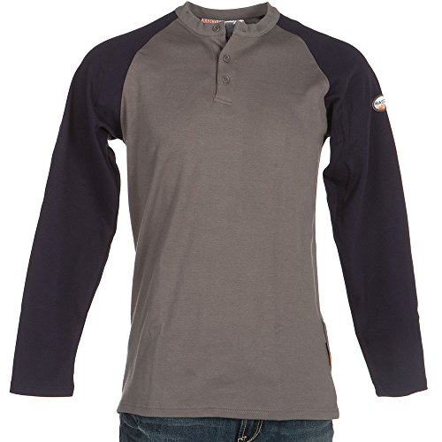 Rasco FR Two Tone Henley T Shirt - 7.1 Oz - Navy/Gray (X-Large)