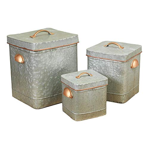 Set of 3 Large Metal Antique Style Containers with Copper Look Finish Handles and Corrugated Sides ()