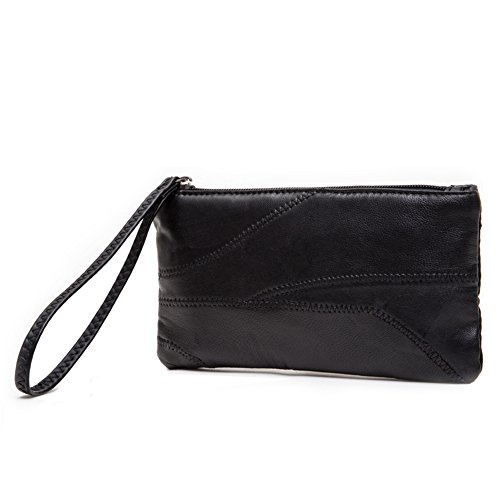 HaloVa Women's Wallet Long Wrist strap Lady Leather Clutch Purse, Large Capacity, Black