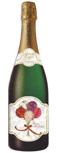 Botella de champán - globos de cumpleaños tarjetas