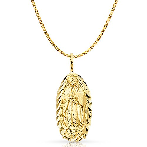 14K Yellow Gold Our Lady of Guadalupe Charm Pendant with 1.5mm Flat Open Wheat Chain Necklace - 18