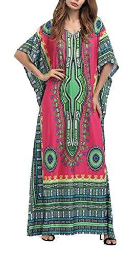 Print African AU Loose Sleeve 1 Summer Sodossny Dress Bat Swing Maxi Womens 0gqxwdxYX