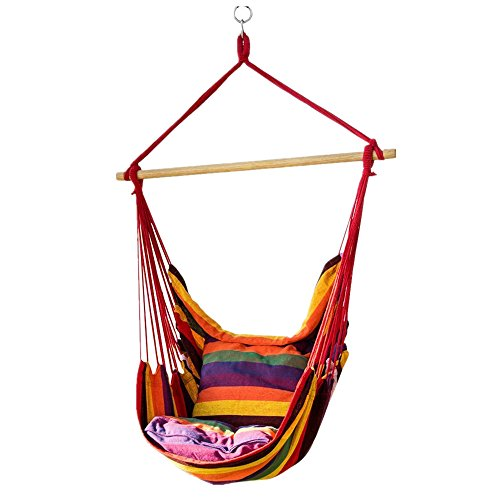 Lelly Q Hanging Rope Hammock Chair Swing Seat Any Indoor Outdoor Spaces- Max. 265 lbs -2 Seat Cushions (Rainbow Stripes)