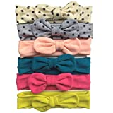 Loveliome Bow-knot Baby Girls Headbands, Stretch Soft Cotton Hairbands for Newborn Toddler(Mix-color 12,6Pack)