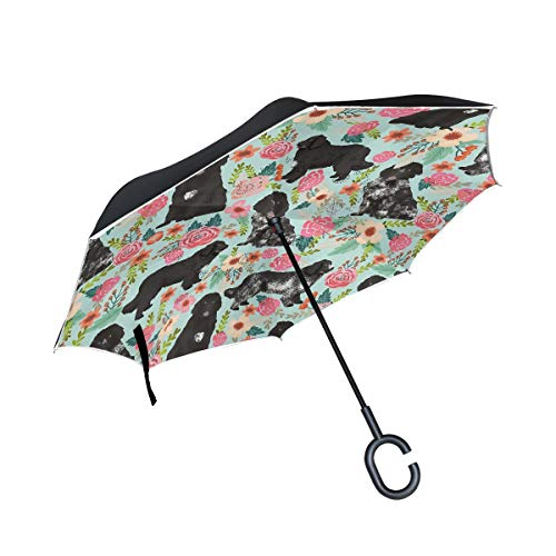 (Reverse/Inverted Double-Layer Waterproof Straight Umbrella, Dogs Newfoundlands Landseer Self-Standing Carrying Bag for Free Hands C-Shape Handle, Windproof UV Protection,Inside-Out Folding for Car Use)