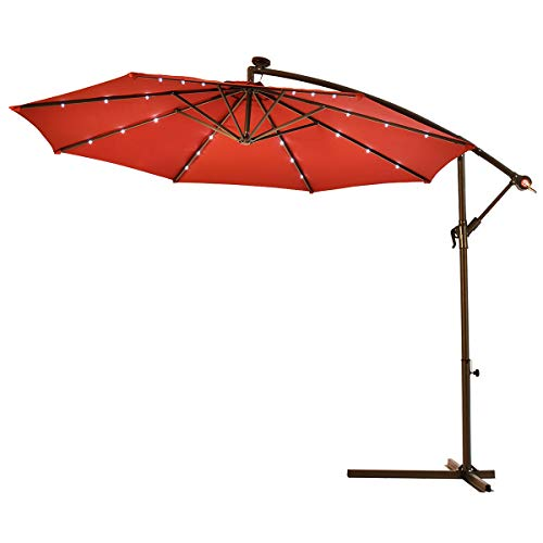 Tangkula 10FT Outdoor Patio Umbrella Solar LED Lighted Sun Shade Market Umbrella with Hanging Cover and Cross Base (Burgundy) (Solar Covers Patio)