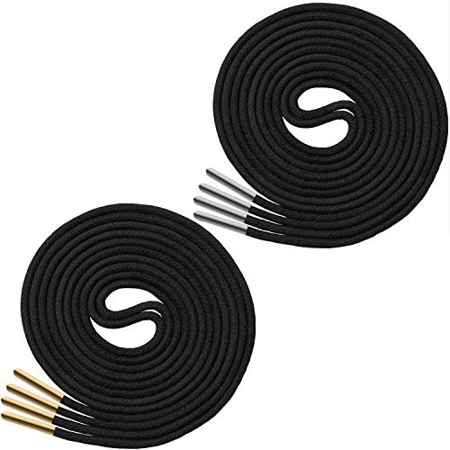 (Waxed Thin Round Dress Shoelaces With Metal Tips [2 Pairs: 1 Pair With Gold Tips + 1 Pair With Silver Tips] 3/32