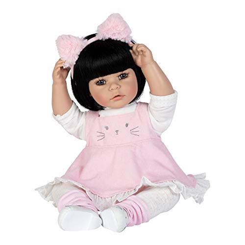 Adora ToddlerTime Doll Kitty Kat 20 inch Toddler Baby Doll in CuddleMe Vinyl, Realistic Lifelike Weighted Cloth Body, Black Hair & Brown Eyes -