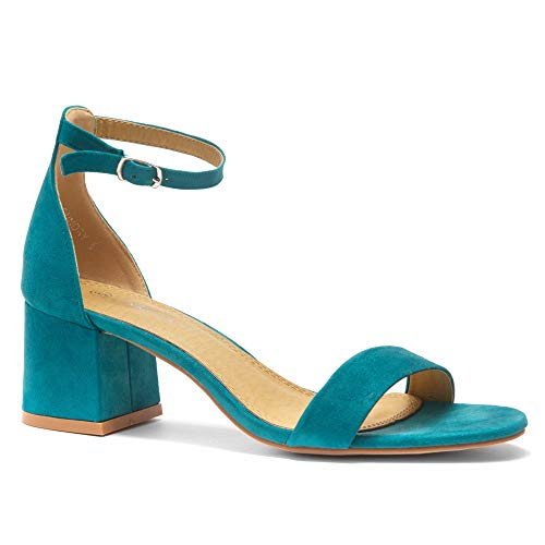 - Herstyle Sunday Women's Open Toe Ankle Strap Block Chunky Low Heeled Sandal Comfortable Office Pump Shoes Teal 5.0