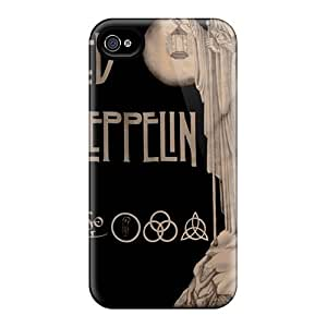 Scratch Resistant Hard Phone Cases For Iphone 4/4s (TkO19521RCJH) Support Personal Customs Colorful Led Zeppelin Image