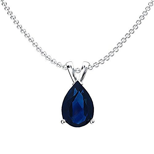 14K White Gold 8x6 mm Pear Cut Blue Sapphire Ladies Solitaire Pendant (Silver Chain Included)