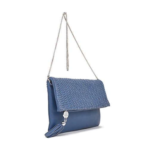 Aria Waterlily Angeles Leather Los Women's Monaco Blue Clutch wrr1IqUC