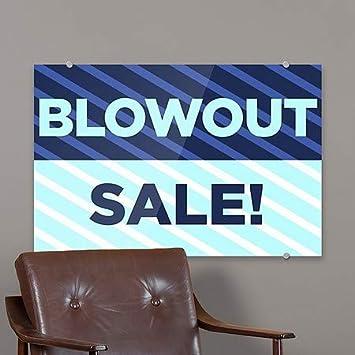 27x18 Stripes Blue Premium Brushed Aluminum Sign CGSignLab Blowout Sale