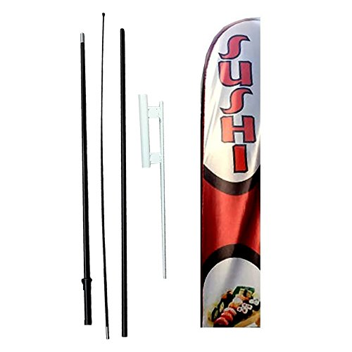 IRIS Swooper Flag with Ground Spike Kit & Swooper Pole Kit Perfect Sushi (15' Tall)