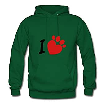 Dorastanl Green X-large Customized I Heart Paw Hoodies For Women