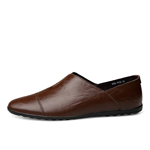 PU Style Marrone in Tacco da on Piatto Pelle Mocassino Loafer Scarpe Slip Uomo Scuro Cricket da Driving qtxTF