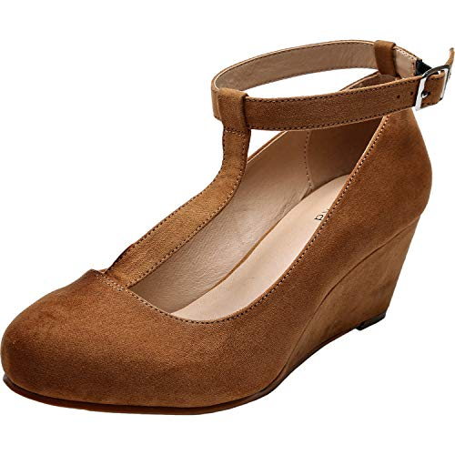 Luoika Women's Wide Width Wedge Shoes - Mary Jane Heel Pump with T-Strap.(Brown 180310,9.5WW)