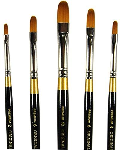 KingArt Original Gold 9500 Series 5 Piece Filbert Golden Taklon Brush Set (Includes Sizes 2, 4, 6, 8, and 10)