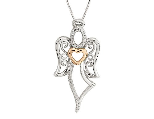Angel Pendant with Rose Gold Heart and Diamonds in Sterling Silver with ()