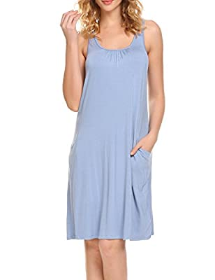 Hotouch Sleeveless Nightgown For Women Cami Sleepwear Loose Nightgowns With Pocket S-XXL