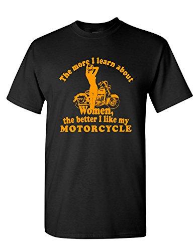 Strange Cargo Men's The More I Learn About Women Funny Motorcylce T-Shirt XL Black ()