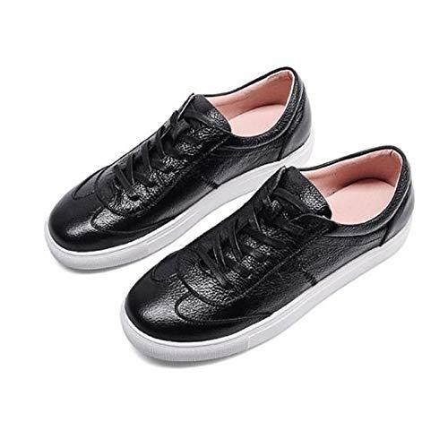 ZHZNVX Zapatos de Mujer Nappa Leather Spring/Fall Comfort Sneakers Flat Heel Round Toe Blanco/Negro Black