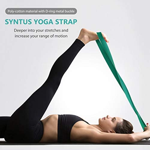 Syntus Yoga Block and Yoga Strap Set, 2 EVA Foam Soft Non-Slip Yoga Blocks 9×6×4 inches, 8FT Metal D-Ring Strap for Yoga, General Fitness, Pilates, Stretching and Toning Workouts