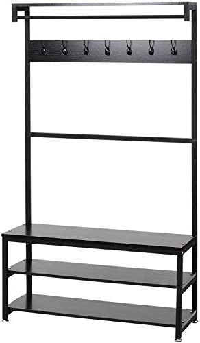 3-in-1 Entryway Coat Shoe Rack, Entry Hall Tree Bench with 3 Tier Storage Shelves, Wood Furniture with Metal Frame, 7 Hooks for Garment Coats Hats Keys Umbrella Rack