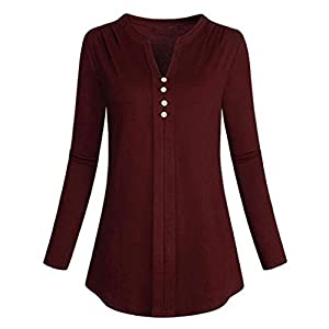 Women Tops, Gillberry Women's Long Sleeve V Neck Solid Shirt Casual Blouse Loose Tops T-Shirt (Red, M)
