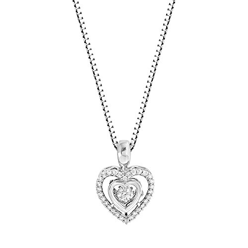Large Gold Necklace Heart (Diamond Heart Necklace in 10k White Gold 1/5 cttw Dancing Diamond)