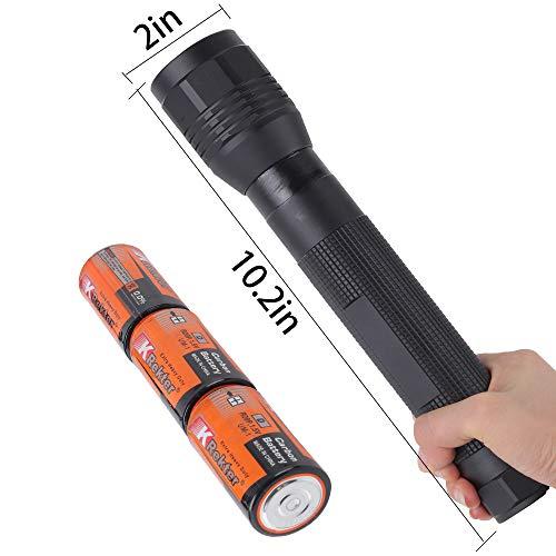 Whaply Heavy Duty LED High Lumen Flashlight 3 Cell D Battery Flashlight