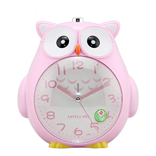 ChowDon Novelty Night Owl Alarm Clock Silent Sweep Analog Night Light Animal Timer Gift for Kids Children - Shaped Owl Clock