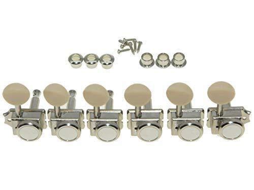 Strat Tuning Machines - KAISH 6 Inline Guitar Vintage Style Locking Tuners Guitar Tuning Keys Guitar Lock Machine Heads for Strat Tele Nickel with Ivory Button