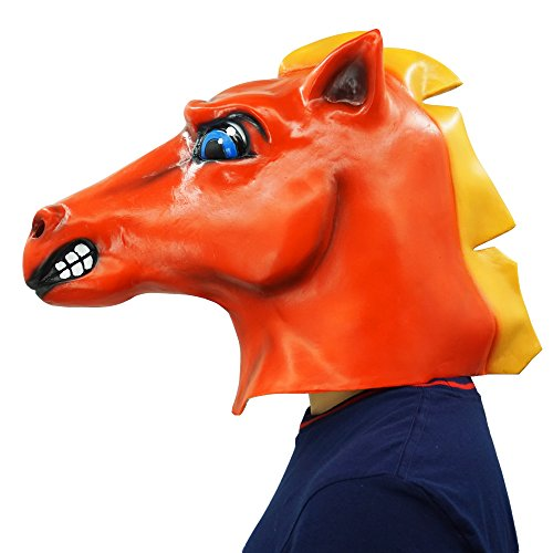Red Horse Head Mask Animal Party Helmet Cosplay Halloween Props by Lucky Lian (Image #4)